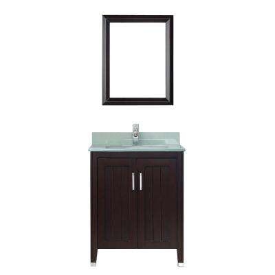 Jackie 28 in. Vanity in Chai with Glass Vanity Top in Chai and Mirror