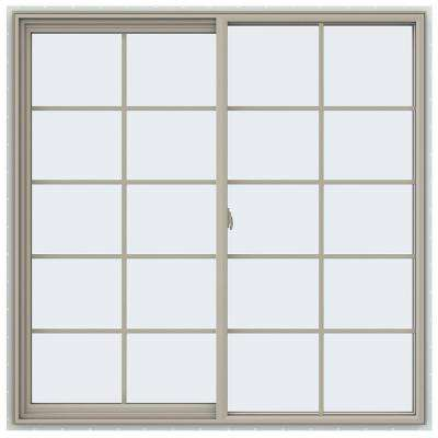59.5 in. x 59.5 in. V-2500 Series Desert Sand Vinyl Left-Handed Sliding Window with Colonial Grids/Grilles