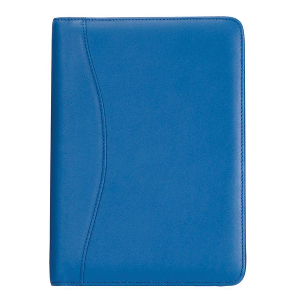 Genuine Leather Compact Writing Portfolio Organizer, Ocean Blue