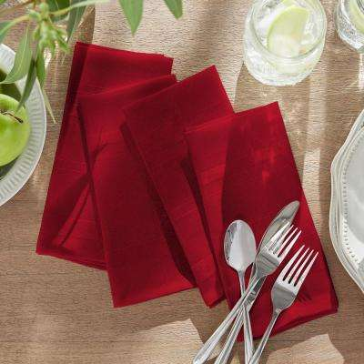 17 in. W x 17 in. L Elrene Elegance Plaid Damask Poinsettia Red Fabric Napkins (Set of 4)