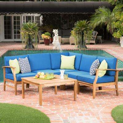 Perla Teak Finish 6-Piece Wood Outdoor Sectional Set with Blue Cushions