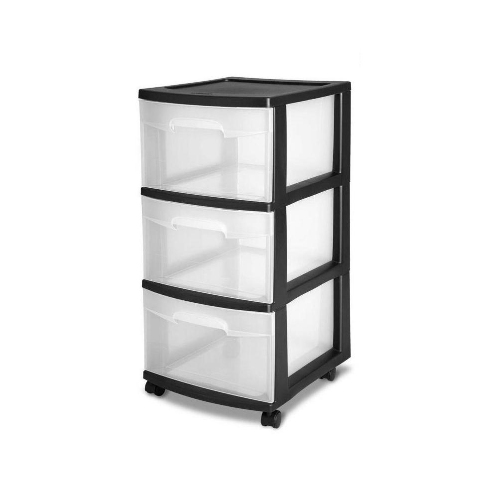Sterilite 24 In H X 12 5 In W X 14 5 In D 3 Drawer Storage Cart With Clear Drawers And Black Frame 6 Pack 6 X 28309002 The Home Depot