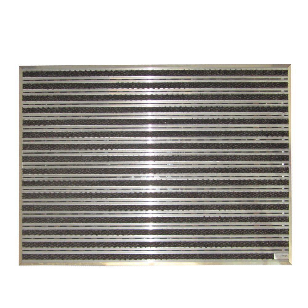 Novomat Slimm Aluminum and Grey 35.6 in. x 47.3 in. Textile Carpet Door Mat Entrance Kit