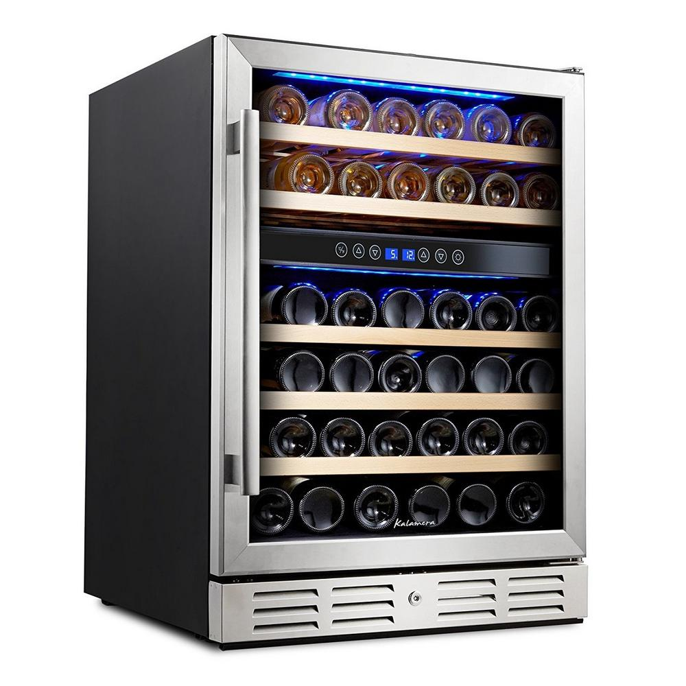 Kalamera 24 in. Built-In 46 Bottle Dual Zone Wine refrigerator with Temperature Memory Function