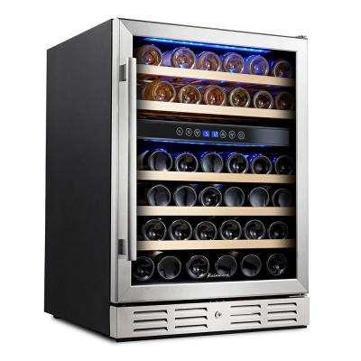 24 in. Built-In 46 Bottle Dual Zone Wine refrigerator with Temperature Memory Function