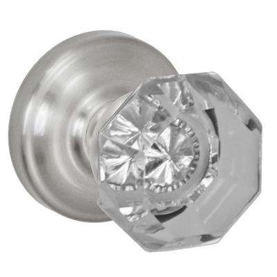 Brushed Nickel Victorian Clear Passage Set Knob with Ketme Rose