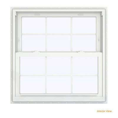 35.5 in. x 40.5 in. V-2500 Series White Vinyl Double Hung Window with Colonial Grids/Grilles