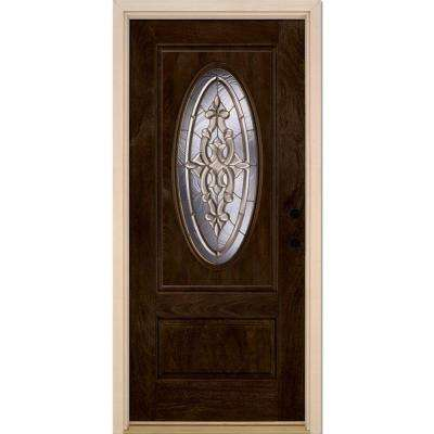37.5 in. x 81.625 in. Silverdale Brass 3/4 Oval Lite Stained Chestnut Mahogany Left-Hand Fiberglass Prehung Front Door