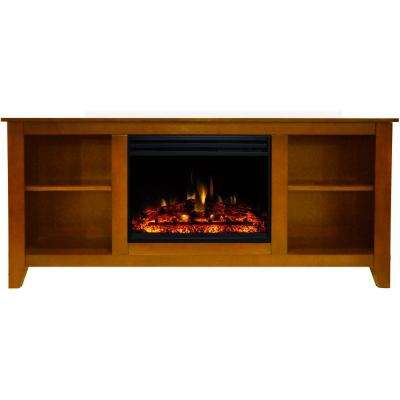 Santa Monica 63 in. Electric Fireplace Heater TV Stand in Teak with Enhanced Log Display and Remote