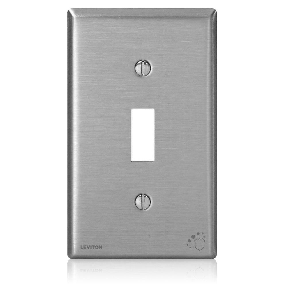 1-Gang-Toggle Switch Wall Plate Standard Size Antimicrobial Treated, Stainless Steel