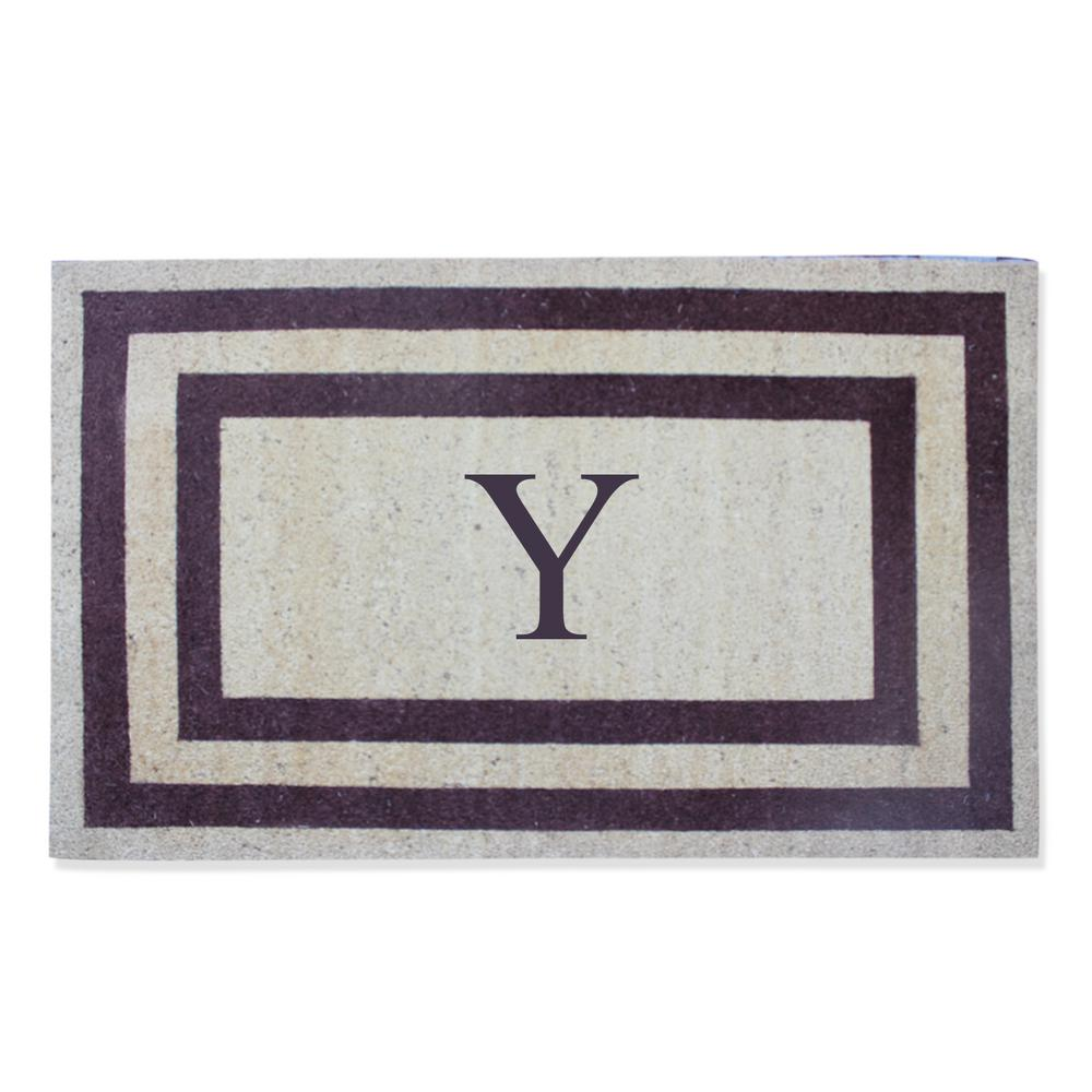 First Impressions A1HC First Impression Engineered Classic Border Terrance Red 30 in. x 48 in. Coir Monogrammed Y Door Mat