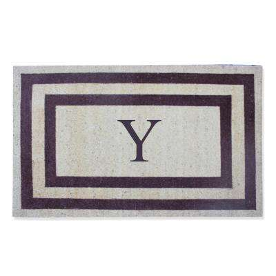 A1HC First Impression Engineered Classic Border Terrance Red 30 in. x 48 in. Coir Monogrammed Y Door Mat