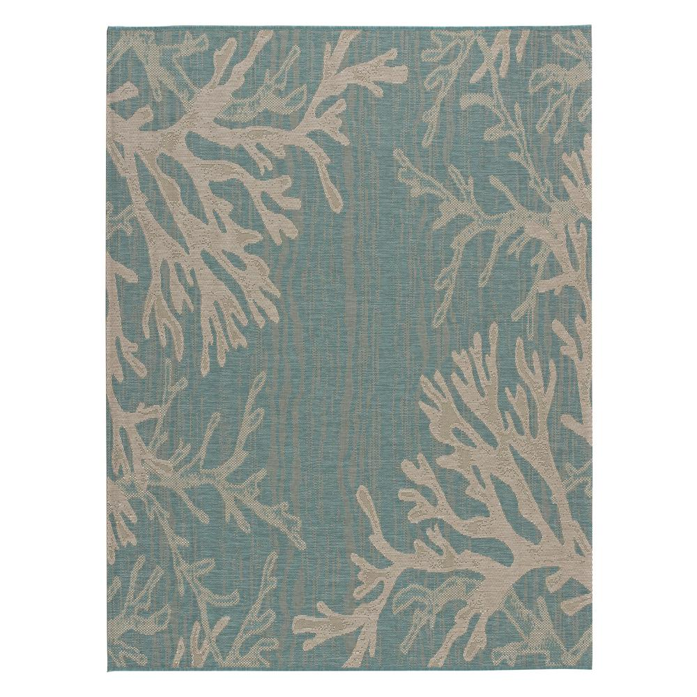 Hampton Bay Reef Aqua 5 Ft X 7 Indoor Outdoor Area Rug