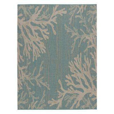 Reef Aqua 5 ft. 3 in. x 7 ft. 4 in. Indoor/Outdoor Area Rug