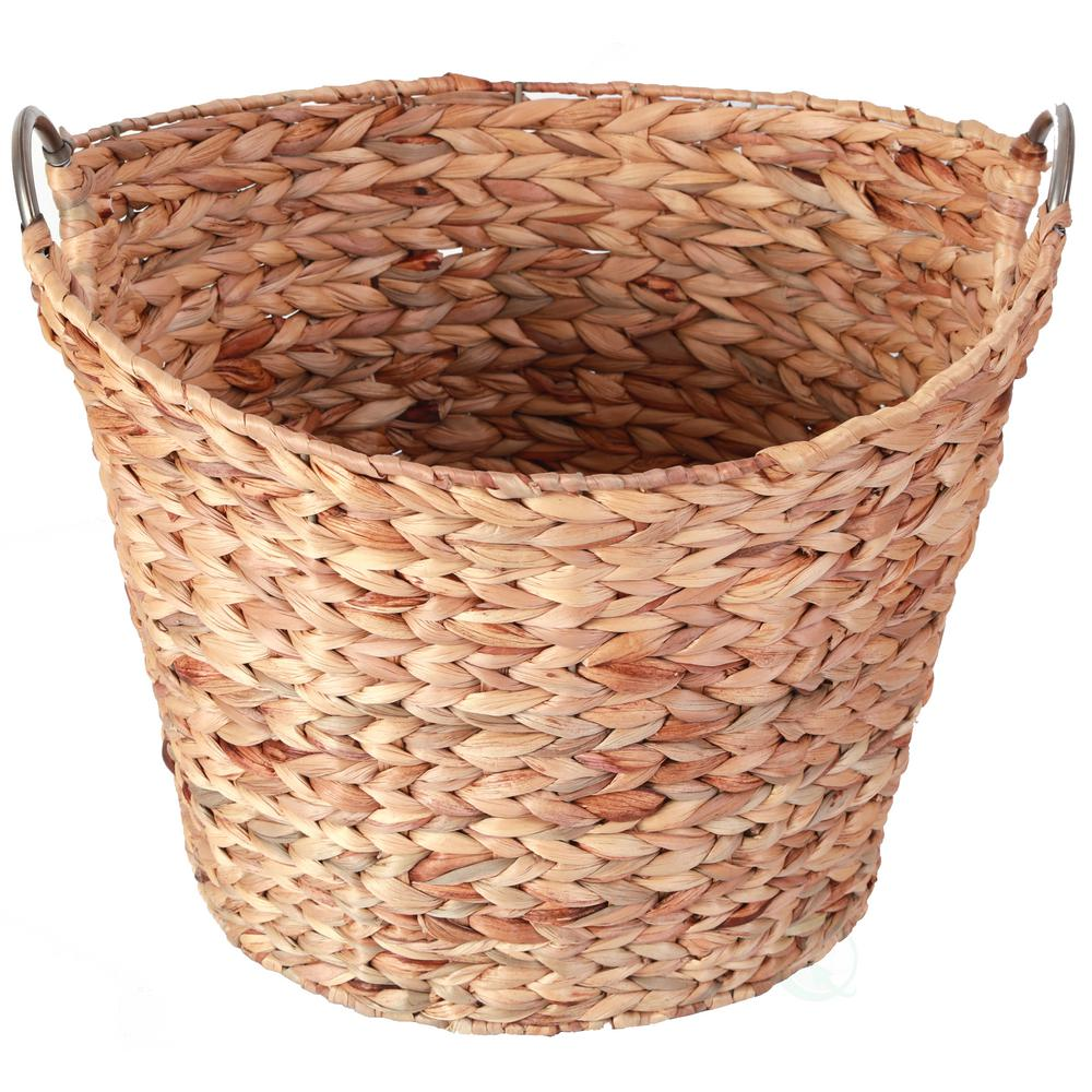 Vintiquewise Large Round Water Hyacinth Wicker Laundry Basket