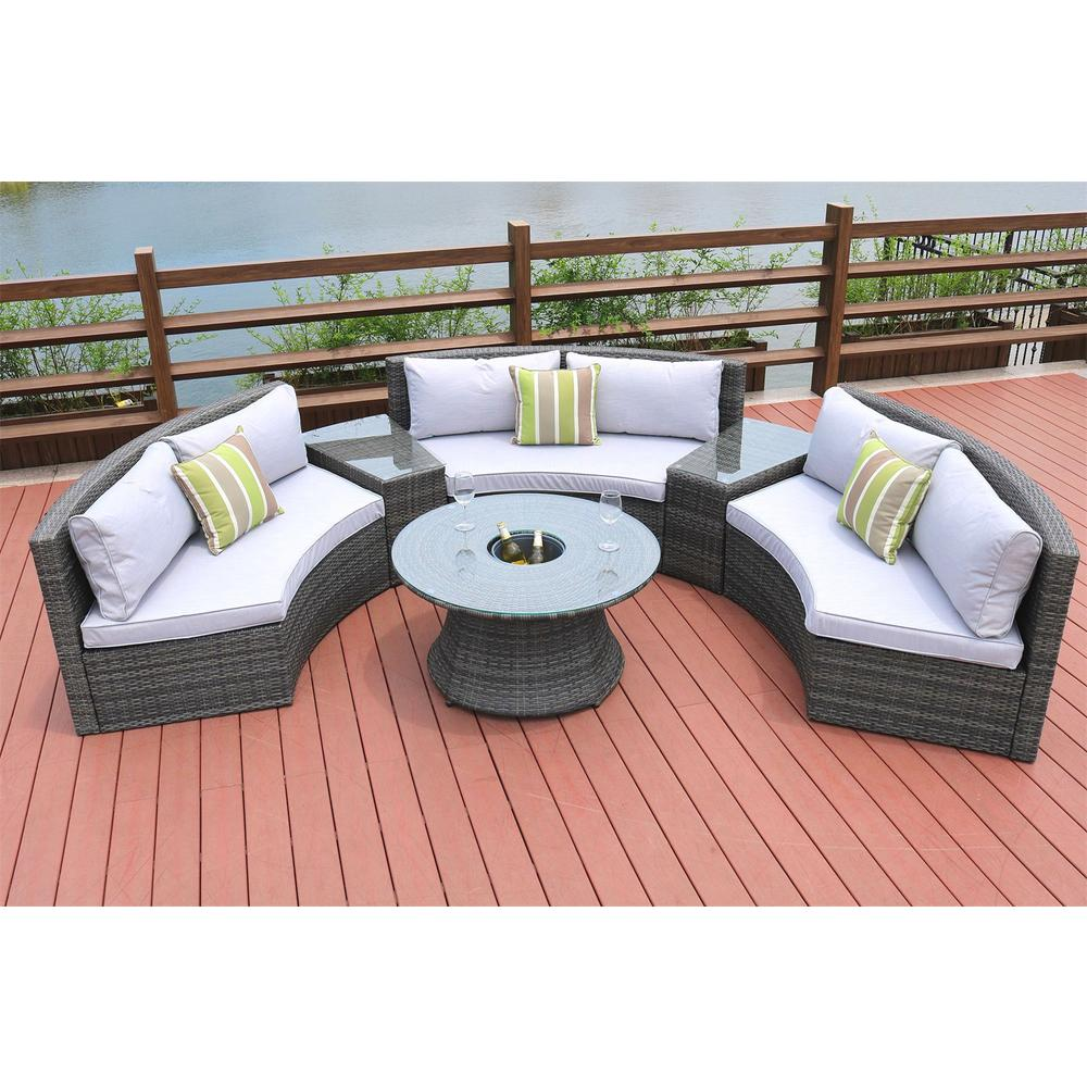 6-Piece Half Moon Grey Wicker Outdoor Sectional Set with Grey Cushions