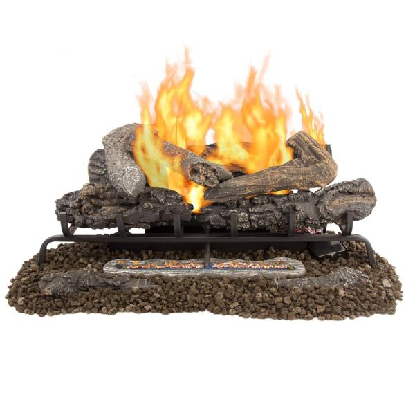 Valley Oak 30 in. Vent-Free Dual Fuel Gas Fireplace Logs with Remote