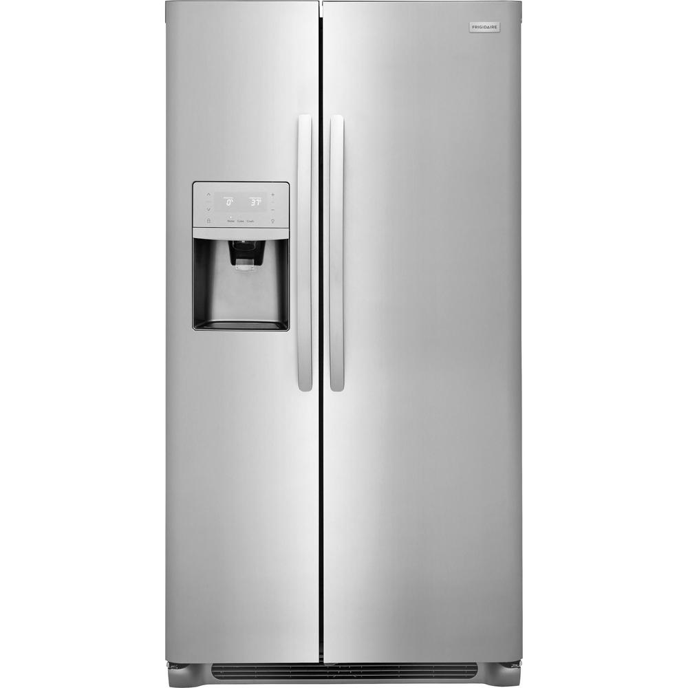 frigidaire 22 2 cu ft side by side refrigerator in stainless steel rh homedepot com Electrolux Model Frigidaire Frs26h5d8b4 Frigidaire PureSource Water Filter