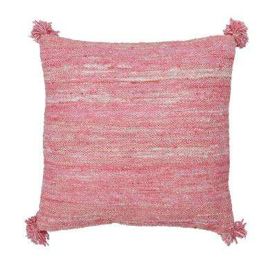 20 in. x 20 in. Pink Woven Striped Pillow Cover