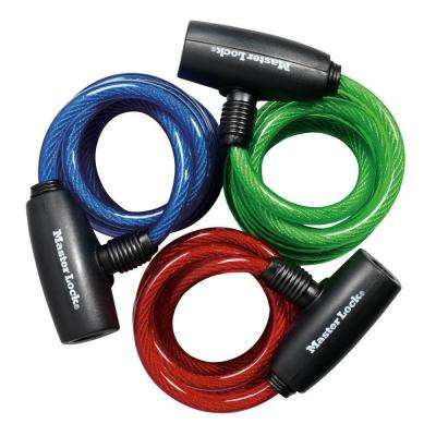 6 ft. Colored Vinyl Coated Keyed Cable Lock (3-Pack)