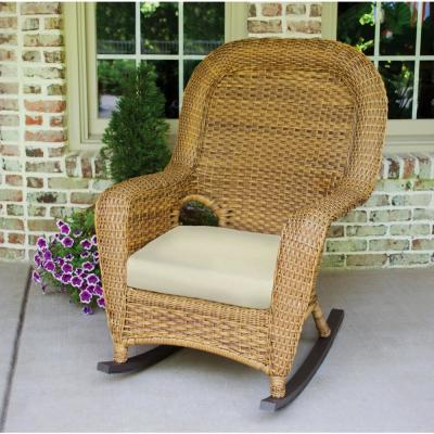Sea Pines Mojave Wicker Outdoor Rocking Chair with Sunbrella Canvas Canvas Cushion
