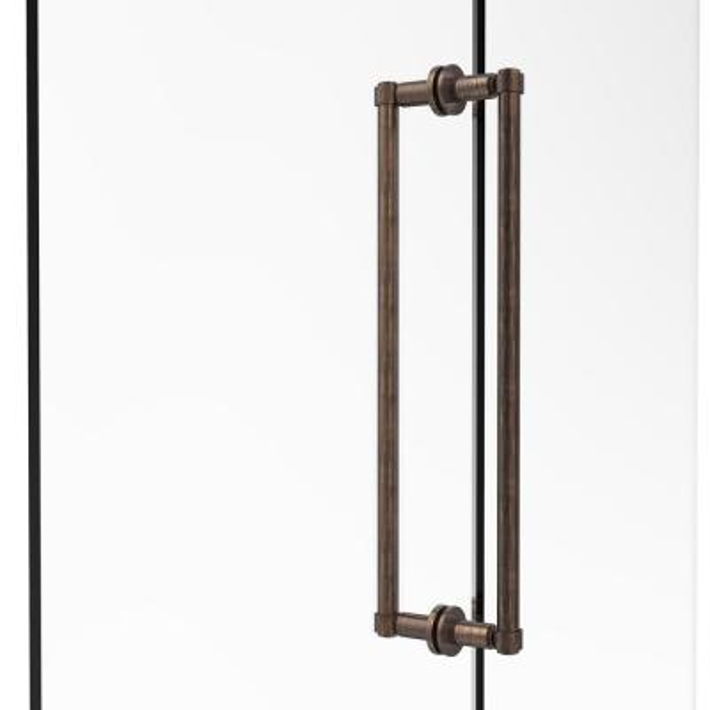 Contemporary 18 in. Back-to-Back Shower Door Pull in Venetian Bronze