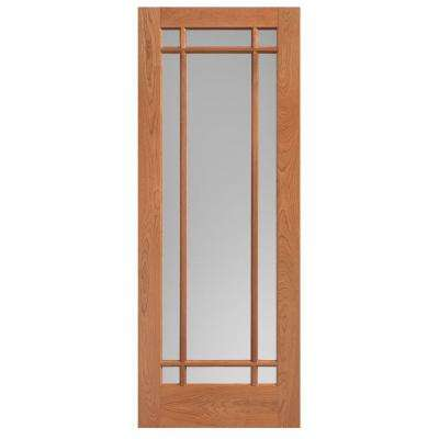 30 in. x 84 in. Prairie Cherry Veneer 9-Lite Solid Wood Interior Barn Door Slab