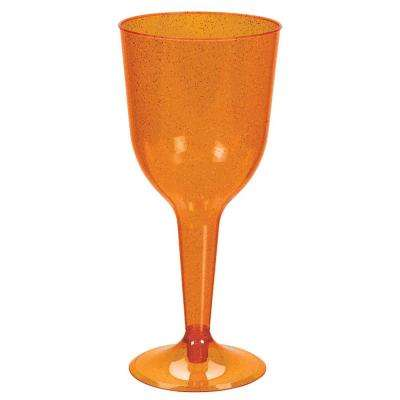 3 in. x 6.75 in. 10 oz. Orange Glitter Plastic Halloween Wine Glasses