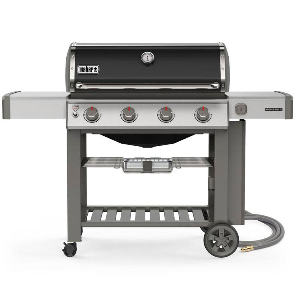 Weber Genesis Ii E 410 4 Burner Natural Gas Grill In Black With Built In Thermometer 67011001 The Home Depot
