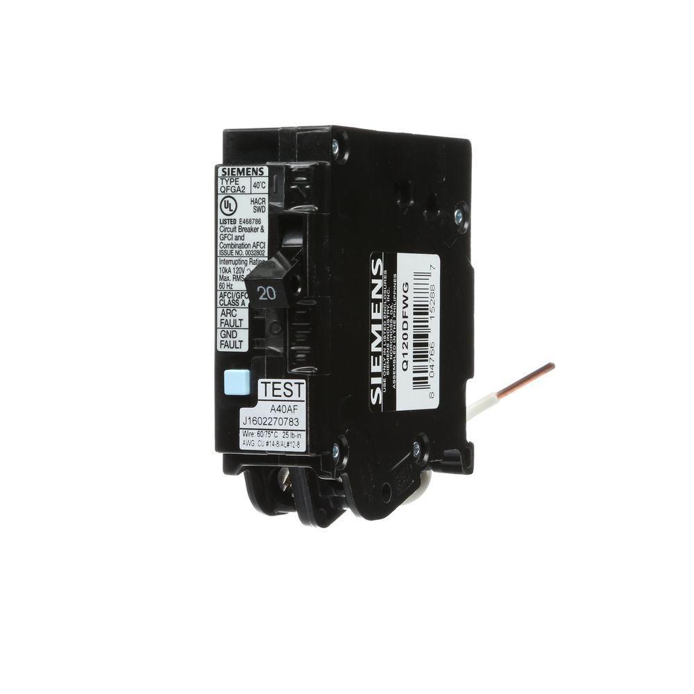 20 Amp Single Pole WireGuide Dual Function AFCI/GFCI Circuit Breaker