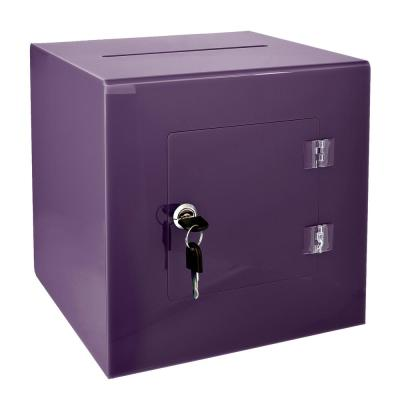 10 in. x 10 in. x 10 in. Acrylic Suggestion Donation Box with Easy Open Rear Door, Purple
