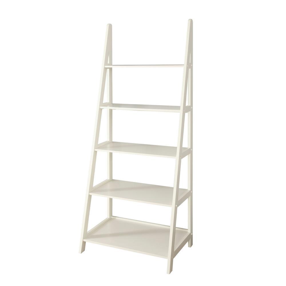 Linden 28 in. W x 72 in. H White Center Ladder Shelf