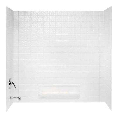 30 in. x 60 in. x 59.6 in. 3-Piece Square Tile Easy Up Adhesive Alcove Tub Surround in White
