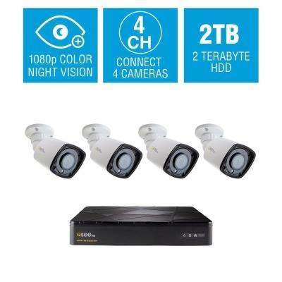 4-Channel 1080p 2TB HD H.265 NVR Video Surveillance System with 4 Bullet Cameras and 65 ft. Color Night Vision