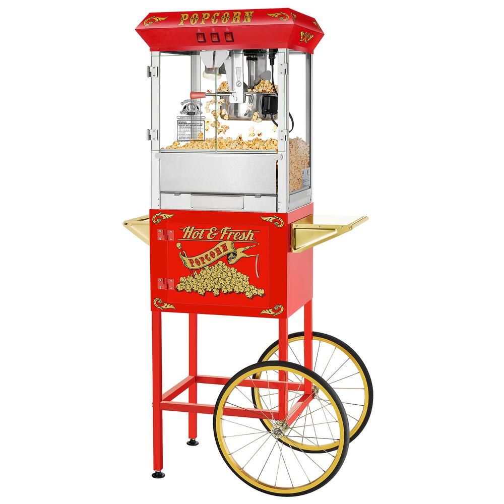 Hot and Fresh 8 oz. Red Popcorn Machine with Cart