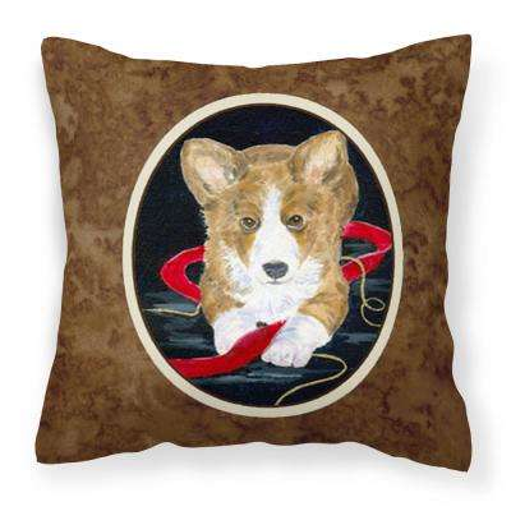 14 in. x 14 in. Multi-Color Lumbar Outdoor Throw Pillow Corgi Decorative Canvas Fabric Pillow