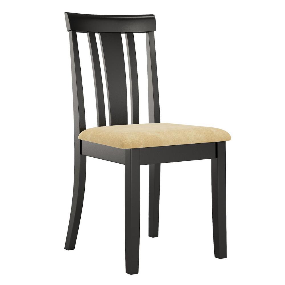 Kira Beige Microfiber Slat Back Chair (Set of 2)