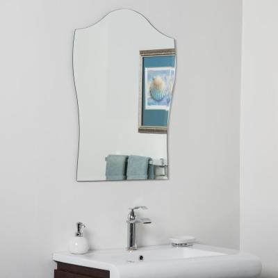 20 in. W x 32 in. H Frameless Arched Beveled Edge Bathroom Vanity Mirror in Silver