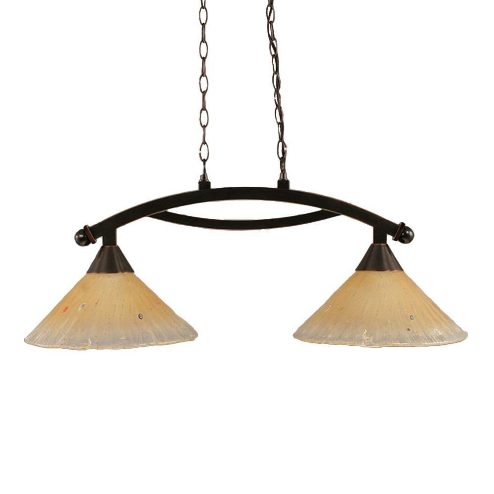 Concord 2-Light Black Copper Ceiling Pendant