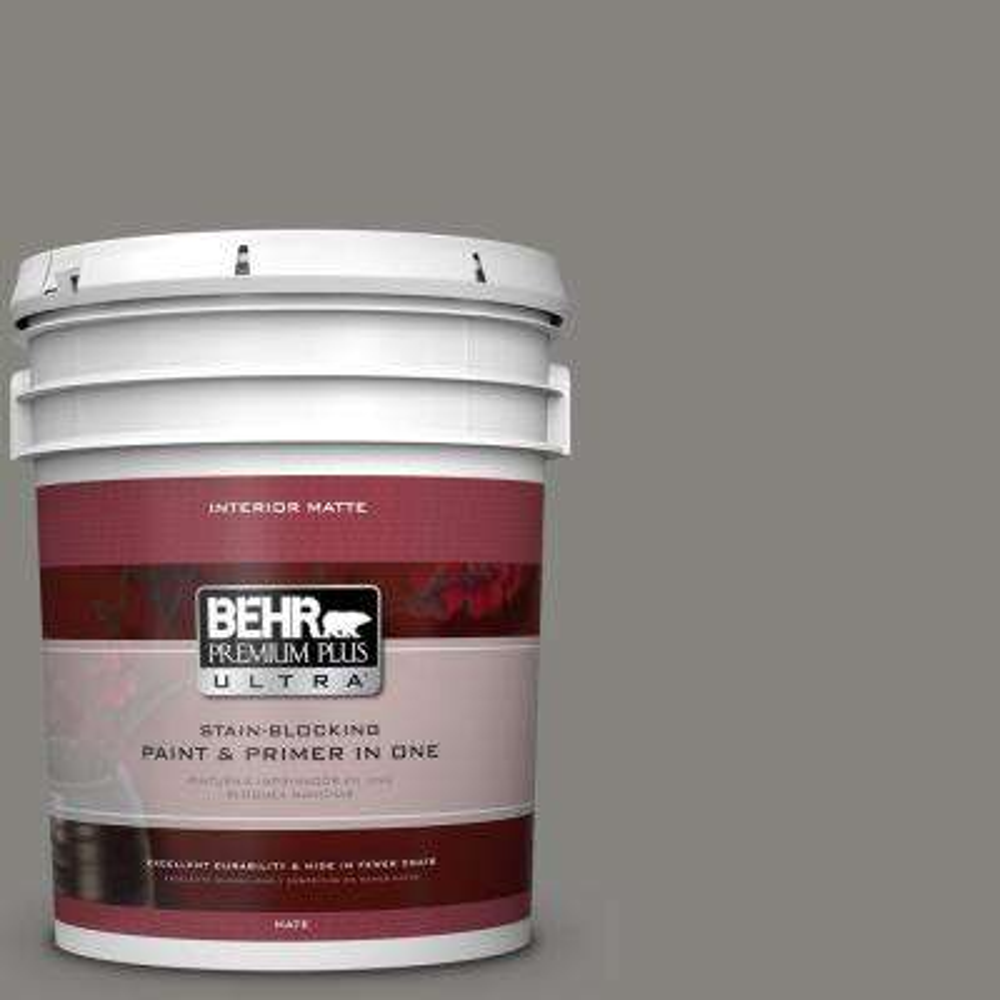 5 gal. #PPU24-07 Barnwood Gray Matte Interior Paint