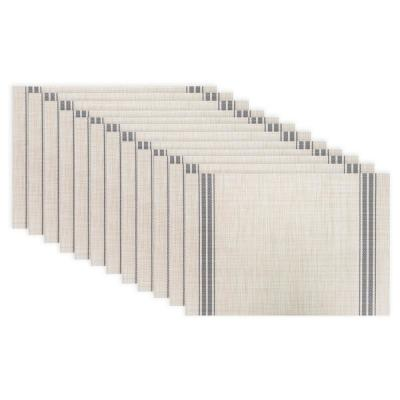 19 in. x 13 in. Grey Stripe Chambray Reversible PVC and Polyester Woven Indoor Outdoor Placemats (Set of 12)