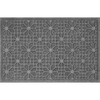 Stained Glass  23 in. x 35 in. PET Polyester Doormat Medium Gray