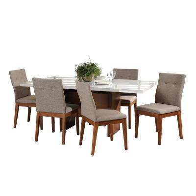 Dover 72.04 in. and Leroy 7-Piece White Gloss and Grey Dining Set