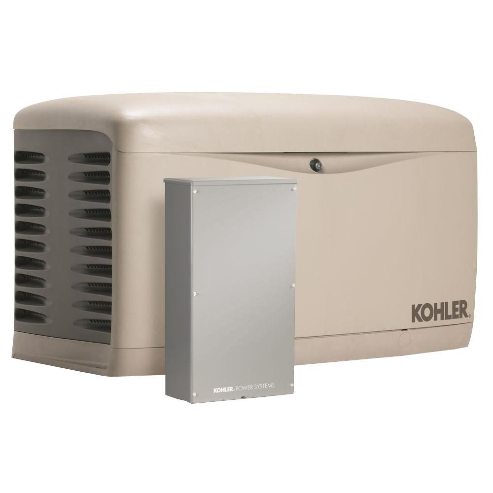 KOHLER 14,000-Watt Air Cooled Standby Generator with 200 Amp Service  Entrance Rated Automatic Transfer
