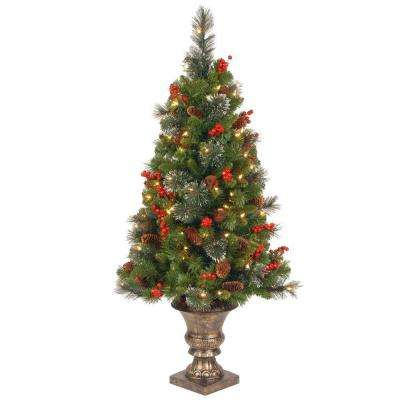 4 ft. Crestwood Spruce Potted Artificial Christmas Tree with 100 Clear Lights