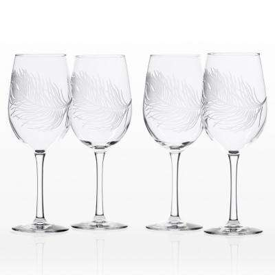 Peacock 12 oz. Clear White Wine Glass (Set of 4)