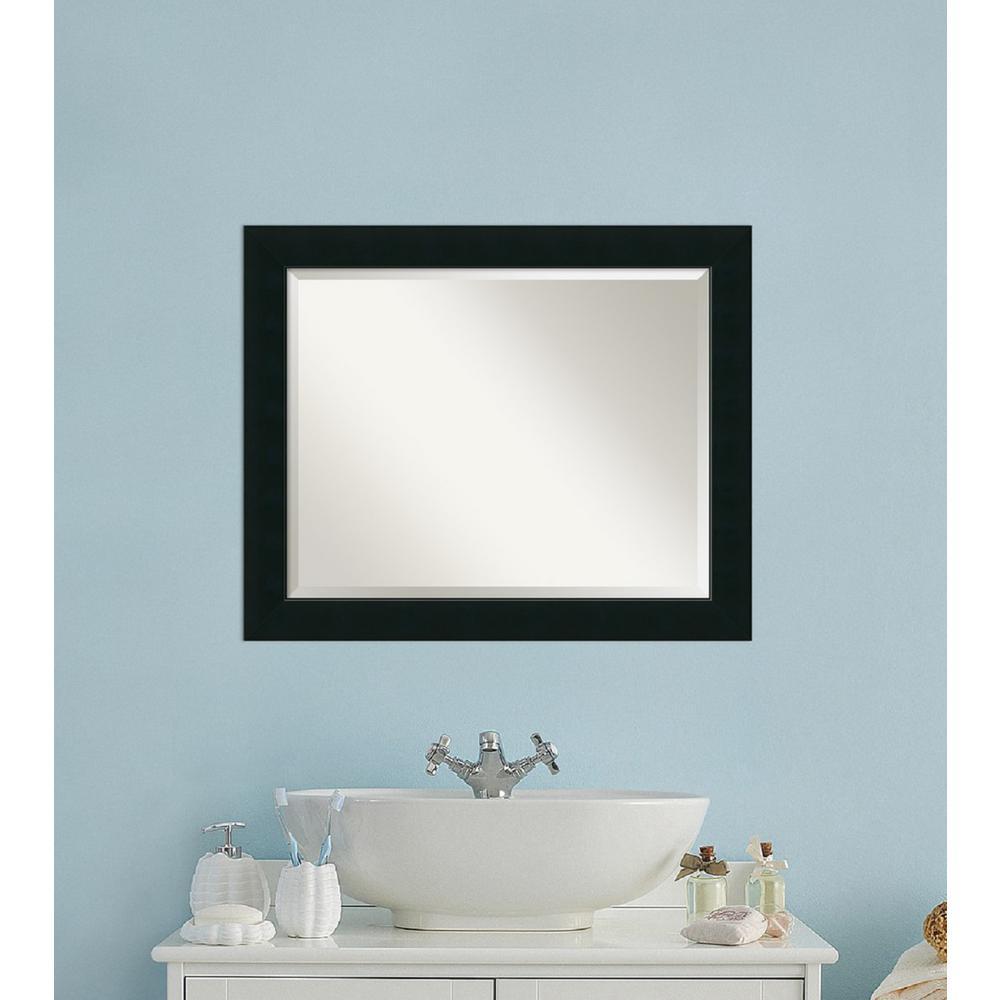 Corvino Black Wood 33 in. W x 27 in. H Contemporary Bathroom Vanity Mirror