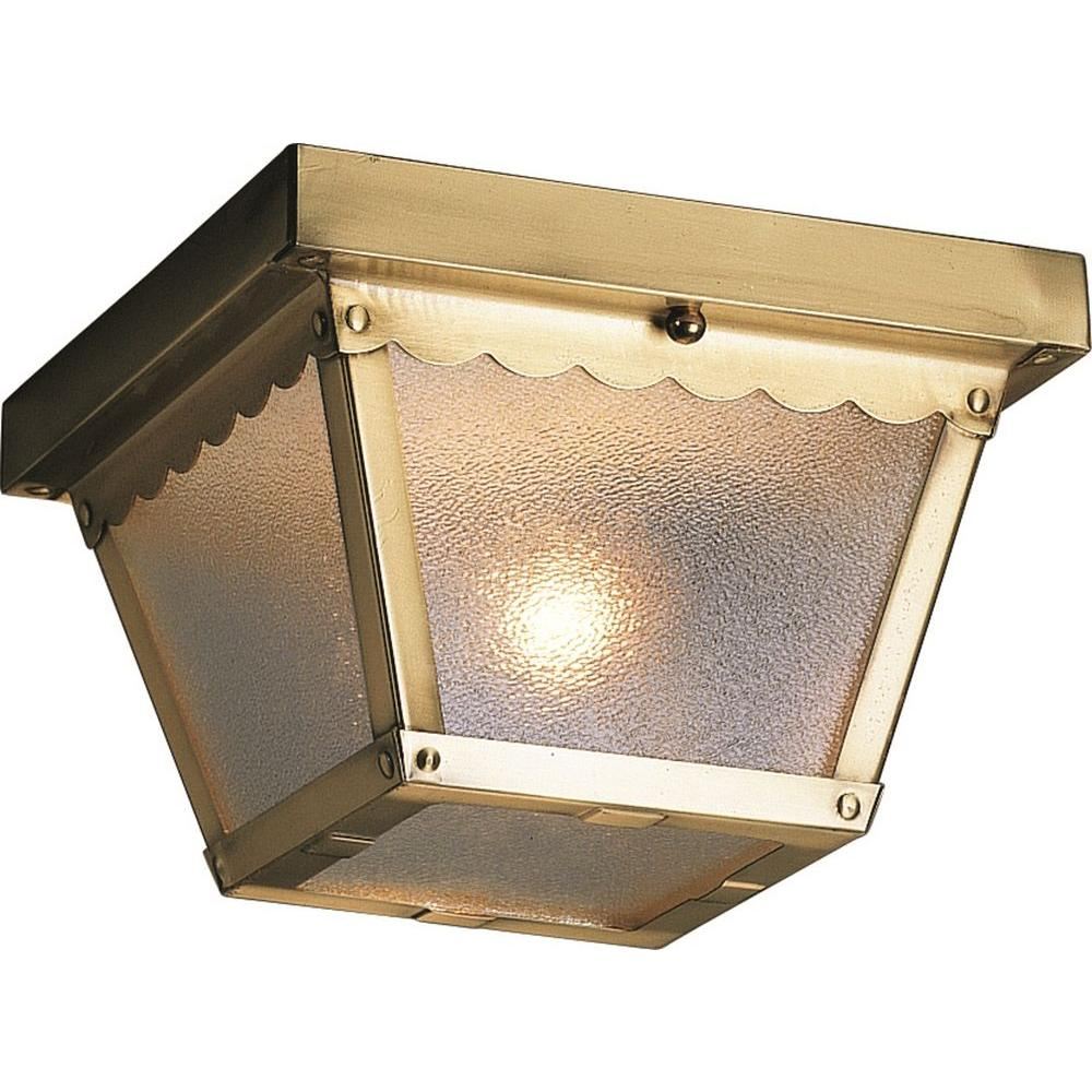 Volume Lighting 1 Light Outdoor Antique Brass Flush Mount Ceiling Fixture