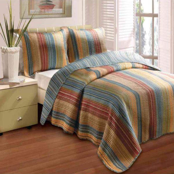 Greenland Home Fashions Katy 3-Piece Multi King Quilt Set