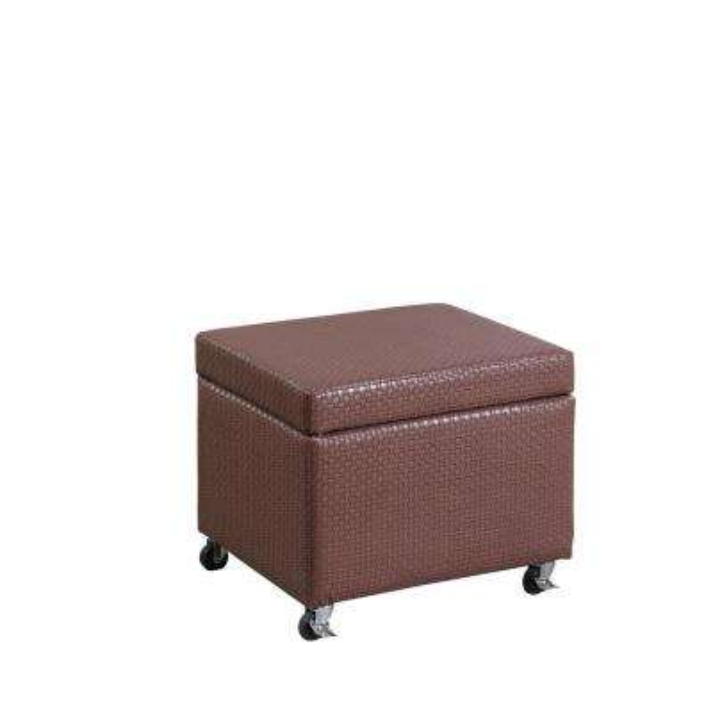 Auburn Brown Basketweave Leatherette Filing Storage Ottoman Seat